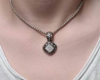 Vintage necklace, silver tone necklace, rhinestone necklace, silver tone art deco necklace, vintage costume jewelry, rhinestone pendant