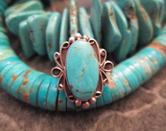 Handcrafted & Signed Navajo Sterling and Genuine Blue Gem Turquoise ring>> Simply Beautiful