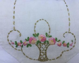 Vintage Hand Embroidered Garden Basket Doily Pillow