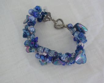 Ocean blue knitted bracelet