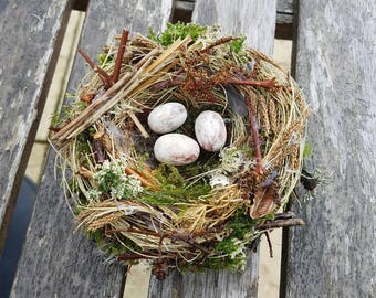 Songbird nest hair comb/fascinator,handmade,one of,quirky boho/festival accessory