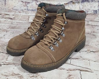 Vintage Gitano Leather Suede Flanel Lined Lace Up Hiking Boots Size 9