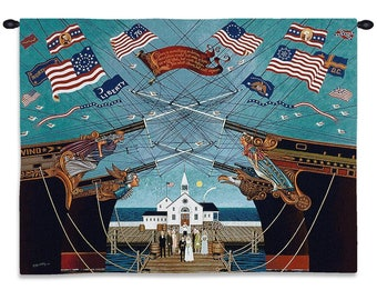 Dockside Marriage Wall Tapestry