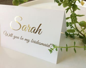 Bridesmaid Card, Maid of Honour Card, Will you be my Bridesmaid Card, Gold Foil, Wedding Stationary, The Violet Collection