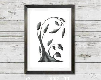Original water-color print, tree, grey tree, sepia, wall decor, instant digital, art, painting, vertical print, grey, black and white