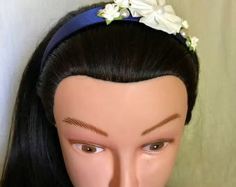 Headbands, Hair Accessories, Floral Headbands, Navy & White Headband, Summertime Wedding Headband, Little Beauty Designs