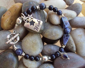 Natural Blue Stone Bracelet with small Star and Wish Charm.