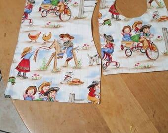 cowgirl square bib and burp cloth