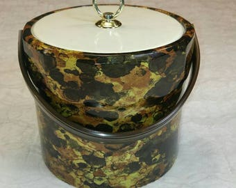 Vintage Ice Bucket Gold and Brown Toned
