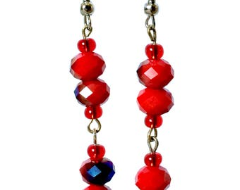 Long Red Beaded Earrings