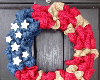 Patriotic Wreath - 4th of July Wreath - American Flag Wreath - Memorial Day Wreath - Americana Wreath