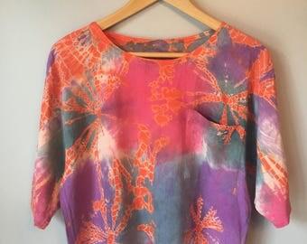 Vintage Women's Crop Top Tie Dye 80s 90s T Shirt