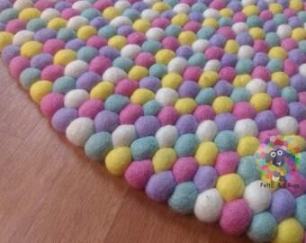 Felt Ball Rugs /Bubblegum pom pom Wool Carpet (Free Shipping)