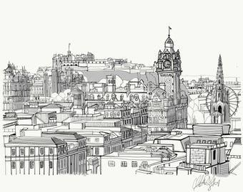 Edinburgh City Scape Illustration