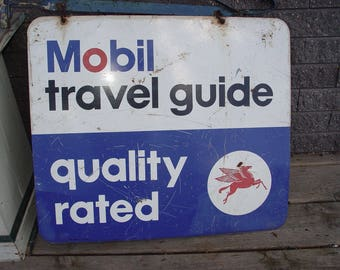 Rare Vintage Mobil Pegasus Travel Guide Quality Double Sided hanging Sign Gas