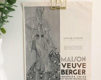 Vintage Fashion Advertising Illustration from 1930s French Magazine
