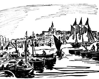 The old port, Marseille, framed, reproduction, print, screen print of Paul Jacob Hians 1937