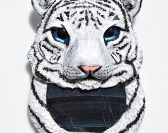 White Tiger – Blue Tigers Eye Crystal Animal Pendant