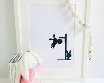 Framed / Unframed Rabbit Nursery Print - Monochrome - animal print- nursery decor -baby gift- nursery prints - Christening - baby room print