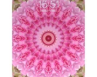 Phone / Tablet Wallpaper - Digital Wallpaper - Pink Rose - Abstract Digital Art - Instant Download - Rose Kaleidoscope