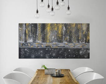 Black & Gold Abstract Painting, Abstract Painting, Modern Art on Canvas