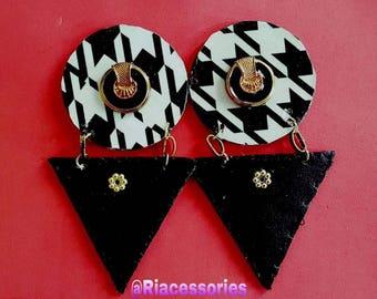Pattern Leather earrings