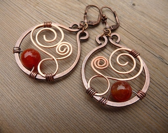 wire wrapped earrings, mixed metal earrings, natural stone earrings, wire wrapped jewelry handmade, earthy, fire agate, hand crafted jewelry