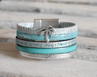 CLEARANCE leather Cuff Bracelet turquoise blue and silver (BR63)