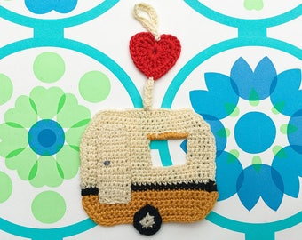 Caravan crochet wall hanging art gift retro classic