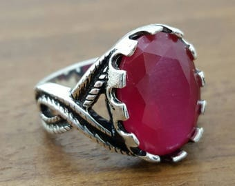 925K Sterling Silver Mens Ring With Natural Ruby Stone