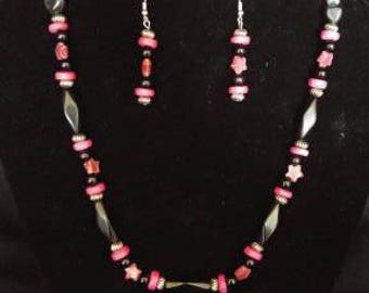 Pink, Black and silver beaded necklace set.