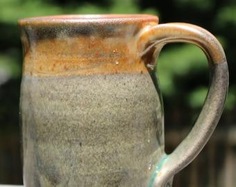 Handmade Mug, Stoneware Mug, Ceramic Mug, Green and Bronze Mug, Celadon Mug, Wheel-Thrown Mug, Green Mug, Bronze Mug, Mug, Pottery Mug