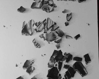 Broken Black Glass Original handpainted Graphite pencil Artwork Collection Beautiful Gift