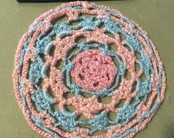 Pink & Blue Doily