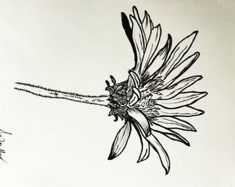 Flower in ink