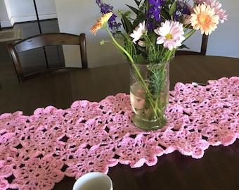 Pink Crochet Flower Table Runner