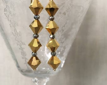 Swarovski Gold Bi-Cone Crystals and Hematite Drop Earrings
