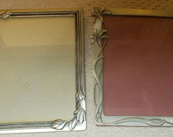 Lot Of 2 Vintage Seagull Pewter Zinn 8 x 10 Picture Frames  PF 300 1984 And PF 319 1992 Iris And Budding Flowers Very Ornate