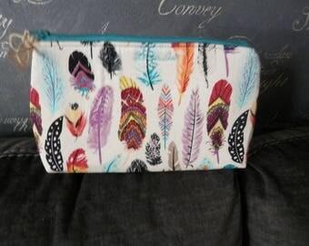 Feathers Make up bag. toiletries bag. Pencil case