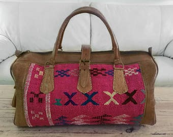 Handcrafted Berber Leather Travel/Weekend Bag