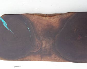 Natural Edge Walnut Cutting Board/Serving Board Turquoise Inlay