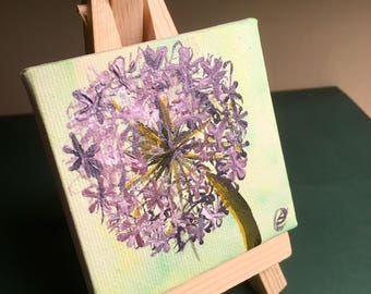 Mini Flower Painting of an Allium blossom. Original Acrylic paint on canvas