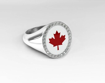 Canada-ring with diamonds and red maple leaf in 18 k White Gold, Meaple leaf, white gold ring, Signet Ring