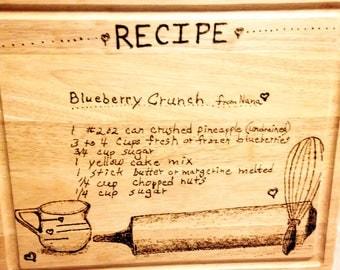 Woodburned Sign of Handwritten Recipe Card- handwritten gift, recipe gift, recipe sign, family recipe, kitchen art, custom recipe gift