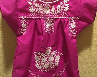 Purple Mexican Hand Embroidered Dress