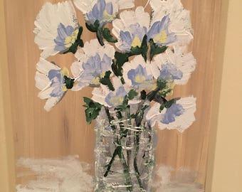Blue flowers in a jar joyingrace art