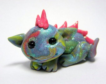Rainbow Tie Dyed Earth Dragon Trollfling Troll mini doll by Amber Matthies