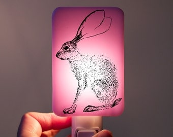 Bunny Rabbit Nightlight on Pastel Lavender Pink Fused Glass Night Light - Gift for Baby Shower Easter Spring - Hare Jackrabbit