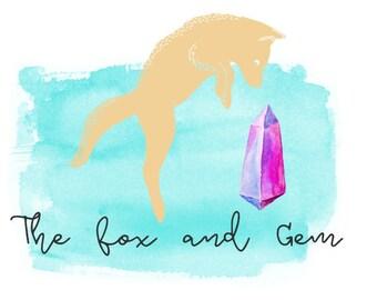 Fox and gem logo design premade