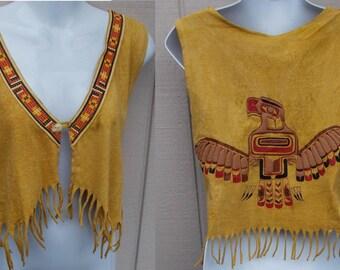 Vintage 90s Puff Paint American Indian Southwest Tee Shirt Vest w/ Eagle